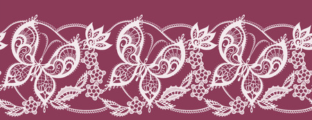jacquard: Abstract jacquard lace pattern with elements in the form of butterflies and flowers Illustration