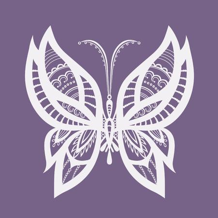 tatuaje mariposa: Silueta abstracta inventado mariposa decorativa. Con reminiscencias de encaje, que est� dise�ado para decorar