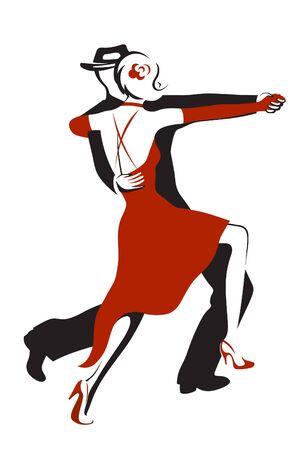 tango dance: Dancing couple performing a sensual dance tango Illustration