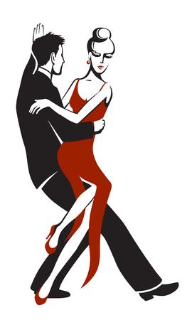 Dancing couple performing a sensual dance tango Ilustracja