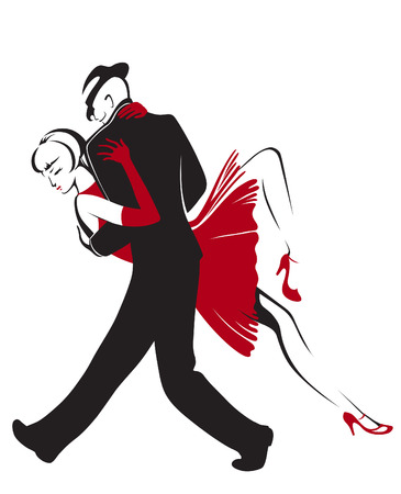 sensual: Dancing couple performing a sensual dance tango Illustration