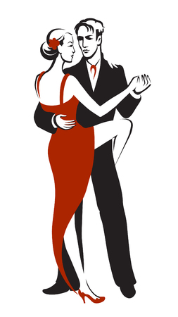 sexy young couple: Dancing couple performing a sensual dance tango Illustration
