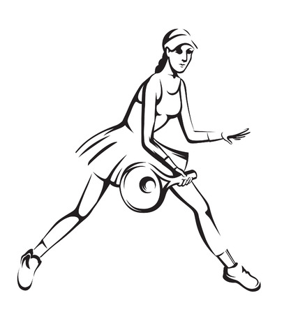 struggling: The athlete playing tennis with racket and ball Illustration