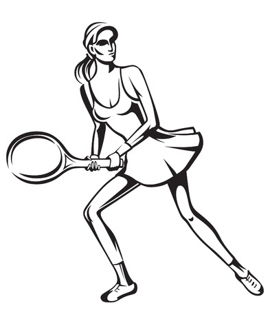 female wrestling: The athlete playing tennis with racket and ball Illustration