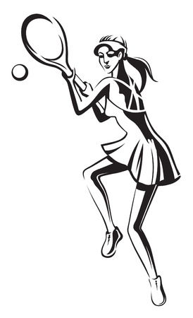 women body: The athlete playing tennis with racket and ball Illustration
