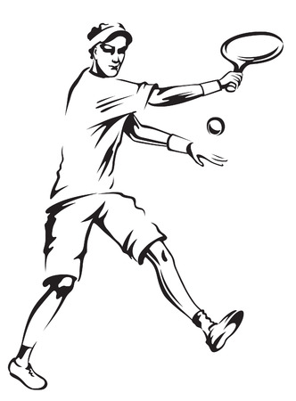 combative: The athlete playing tennis with racket and ball Illustration