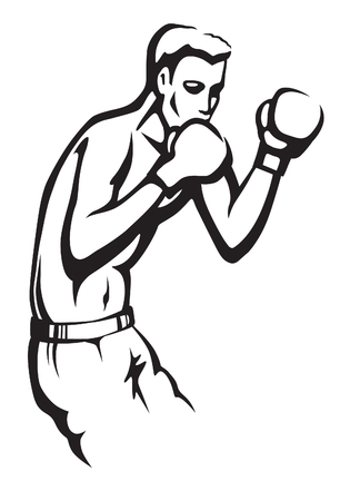 boxing match: Young athletic man preparing to boxing match Illustration
