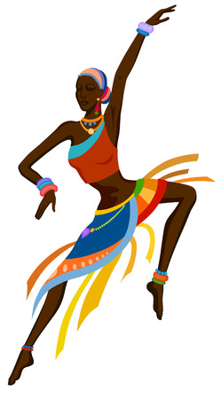 african women: African woman dancing ritual dance in the bright national costume Illustration