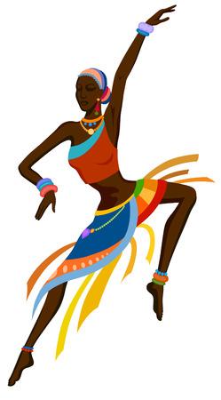 danza africana: África mujer bailando la danza ritual en el traje nacional brillante