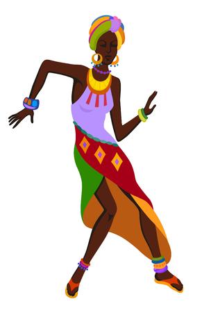 siluetas de mujeres: África mujer bailando la danza ritual en el traje nacional brillante