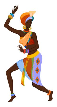 África mujer bailando la danza ritual en el traje nacional brillante