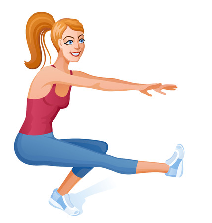 sporty: Girl with long hair does sport a dynamic exercise. She makes fitness