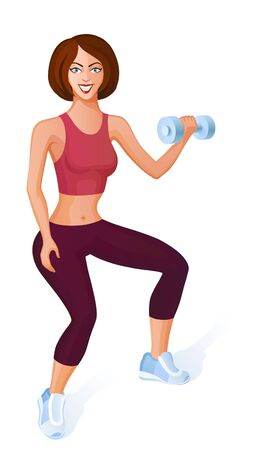 women exercise: Girl does sport a dynamic exercise. She makes fitness with dumbbells Illustration
