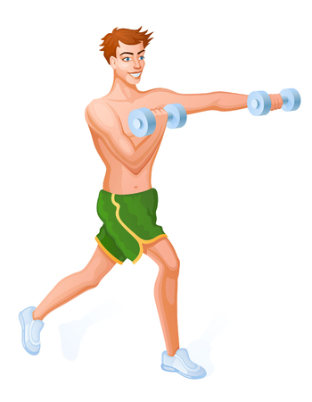Guy does sport a dynamic exercise. he makes workout with dumbbells