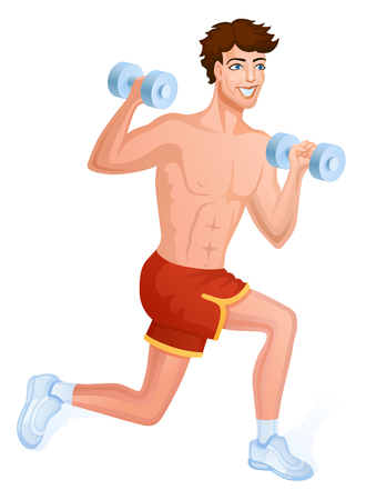 Guy does sport a dynamic exercise. he makes workout with dumbbells Ilustrace