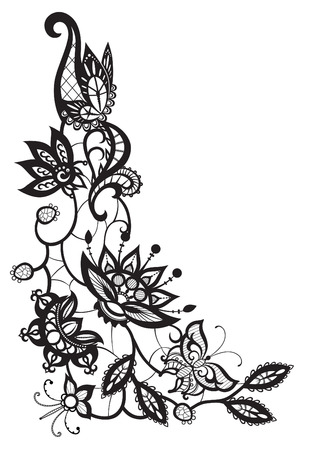 flower illustration: Abstract silhouettes of decorative flowers, leaves and butterflies. These decorative ornament are reminiscent of lace. Perfect cards for any other kind of design