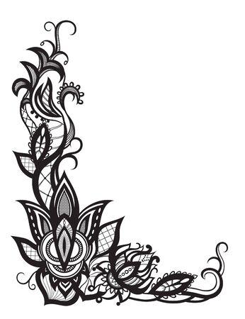 patrones de flores: siluetas abstractas de las flores y las hojas decorativas. Estas hojas y las flores son una reminiscencia de encaje, son creados para decorar