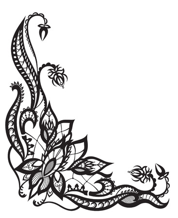 painting art: Abstract silhouettes of decorative flowers and leaves. These leaves and flowers are reminiscent of lace, they are created to decorate