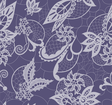 art painting: Seamless background is in the form of lace with decorative flowers, leaves and butterfly Illustration