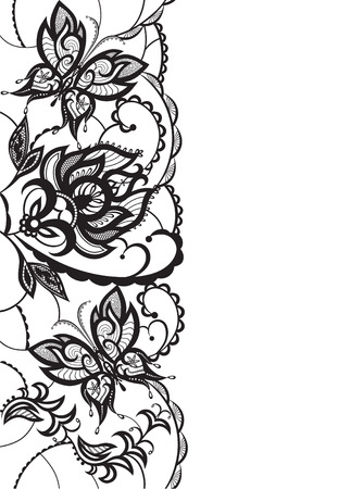 invented: Abstract silhouettes invented decorative flowers leaves and butterflies. It may be for decoration backgrounds or other kinds of design Illustration