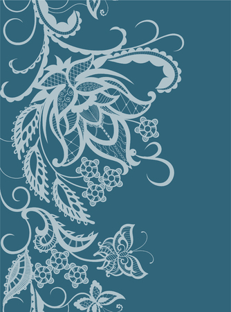 wedding flower: Abstract silhouettes of decorative flowers, leaves and butterflies. These decorative ornament are reminiscent of lace. Perfect cards for any other kind of design