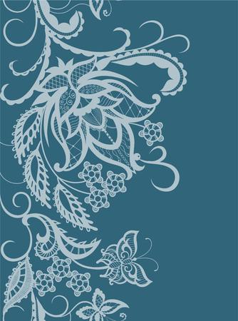 siluetas abstractas de las flores decorativas, las hojas y las mariposas. Estos adornos decorativos son una reminiscencia de encaje. Tarjetas perfectas para cualquier otro tipo de diseño