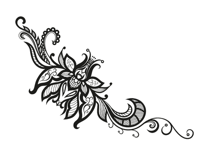 reminiscent: Abstract silhouettes of decorative flower and leaves. These leaves and flowers are reminiscent of lace, they are created to decorate