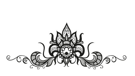 wedding  art: Abstract silhouettes of decorative flower and leaves. These leaves and flowers are reminiscent of lace, they are created to decorate