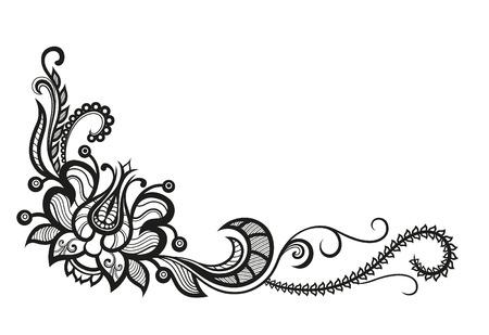 Abstracte silhouetten van decoratieve bloemen en bladeren. Deze bladeren en bloemen doen denken aan kant, ze zijn gemaakt om te versieren