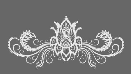 patrones de flores: siluetas abstractas de la flor y las hojas decorativas. Estas hojas y las flores son una reminiscencia de encaje, son creados para decorar