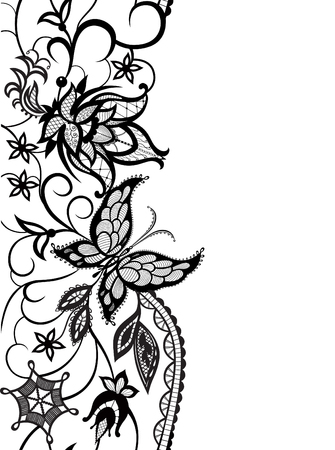 flower clip art: Abstract silhouettes of decorative flowers, leaves and butterfly. These decorative ornament are reminiscent of lace. Perfect cards for any other kind of design