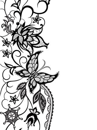 siluetas abstractas de las flores decorativas, las hojas y la mariposa. Estos adornos decorativos son una reminiscencia de encaje. Tarjetas perfectas para cualquier otro tipo de diseño