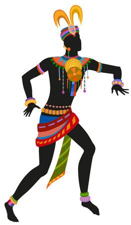 Africano danza ritual de danza en el traje nacional brillante