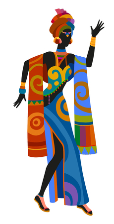 ethnographic: African woman dancing ritual dance in the bright national costume Illustration