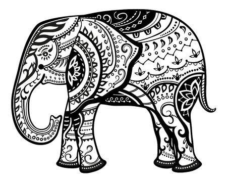 patrones de flores: La estilizada figura de un elefante en los patrones de fiesta