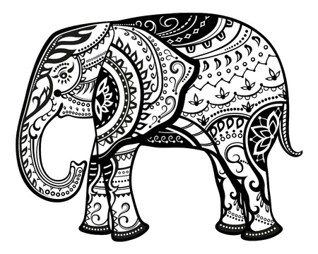 flower petals: The stylized figure of an elephant in the festive patterns Illustration