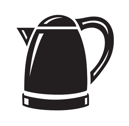 household appliance: Monochrome electric kettle icon on white background. Household appliance