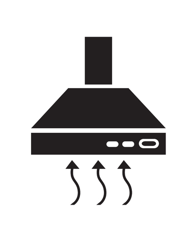 extractor: Kitchen hood black icon symbol extractor vector sign Illustration