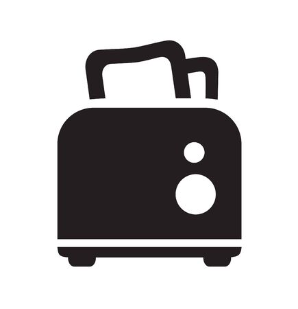 ready cooked: Vector black toaster icon on white background
