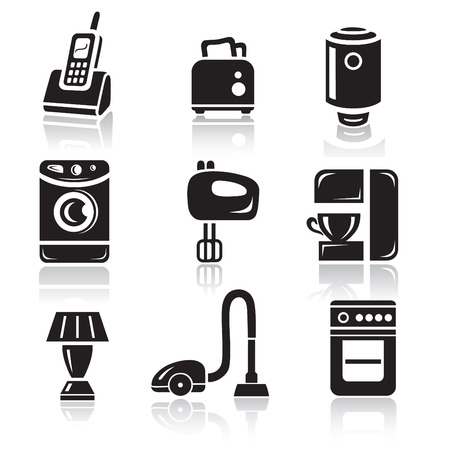 black appliances: Household appliances icon set in minimalist style. Black sign on white background Illustration