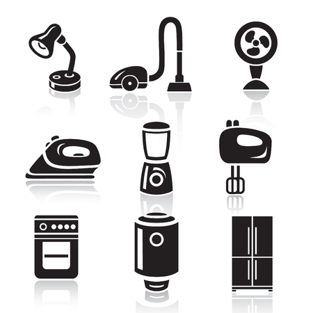 minimalist style: Household appliances icon set in minimalist style. Black sign on white background Illustration