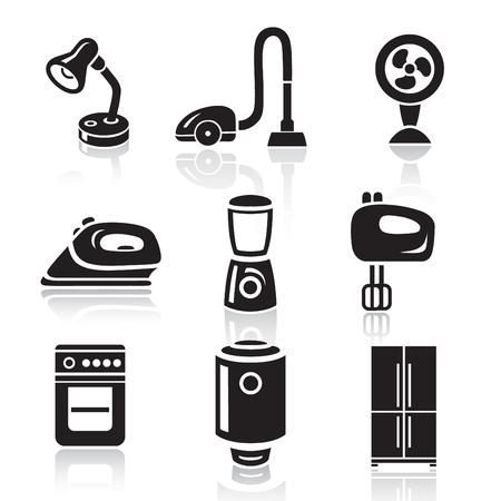 gas lamp: Household appliances icon set in minimalist style. Black sign on white background Illustration