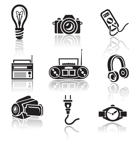 minimalist style: Electronics icon set in minimalist style. Black sign on white background