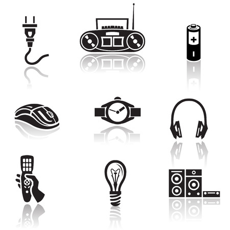 watch groups: Electronics icon set in minimalist style. Black sign on white background