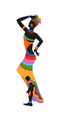 ebony: African woman dancing ritual dance in the bright national costume Illustration