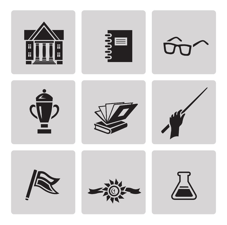 minimalist style: Education icon set in minimalist style. Black sign on gray background