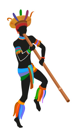 ebony: Mehinako people dance ritual dance in the bright national costume. Man blowing into a tube