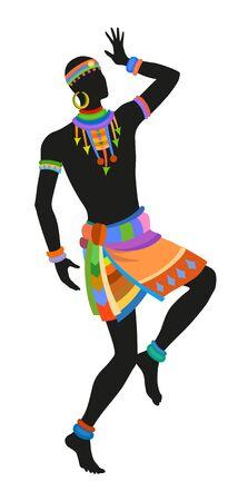 danza africana: Africano danza ritual de danza en el traje nacional brillante Vectores