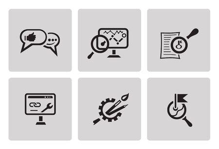 keyword research: SEO internet marketing icons  in minimalist style