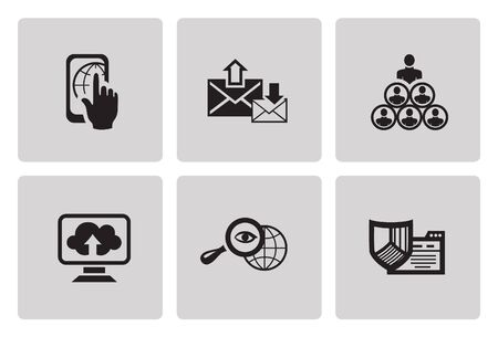minimalist style: SEO internet marketing icons  in minimalist style